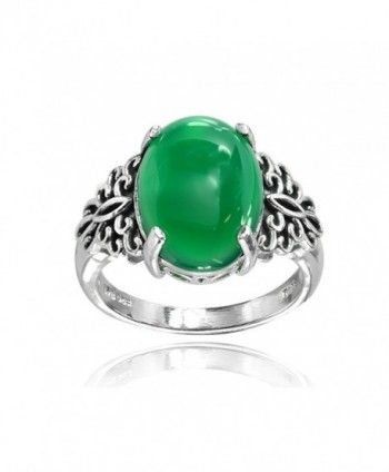 Sterling Silver Simulated Green Jade Oxidized Bali Inspired Filigree Oval Ring - C2187QS0YM2