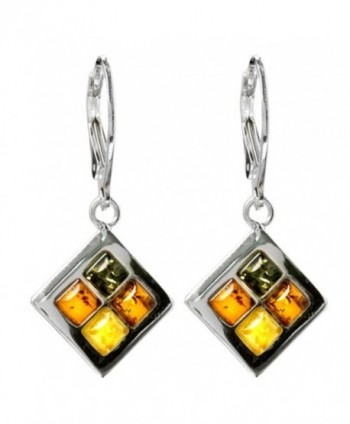 Multicolor Amber Sterling Silver Square Leverback Earrings - CU115YXI1E7
