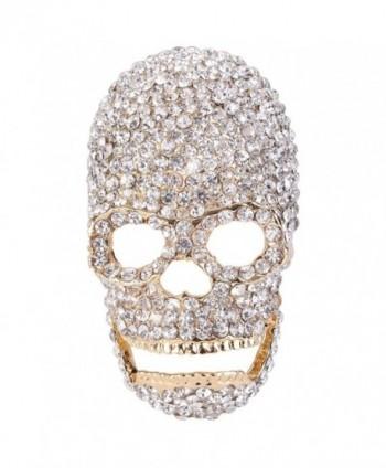 EVER FAITH Austrian Crystal Gorgeous Halloween Skull Bone Brooch Pin Clear - Gold-Tone - CY11BGDJ85P