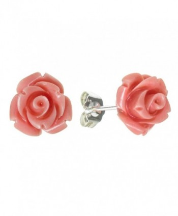 Sterling Silver Simulated Pink Coral Rose Earrings Stud Post 10mm - CC127YP0B9Z