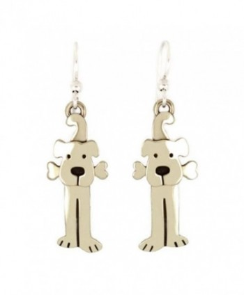 Lulu Dog Earrings with Bone Silver Puppy Wire Far Fetched Mima & Oly - C611HK3RXCF