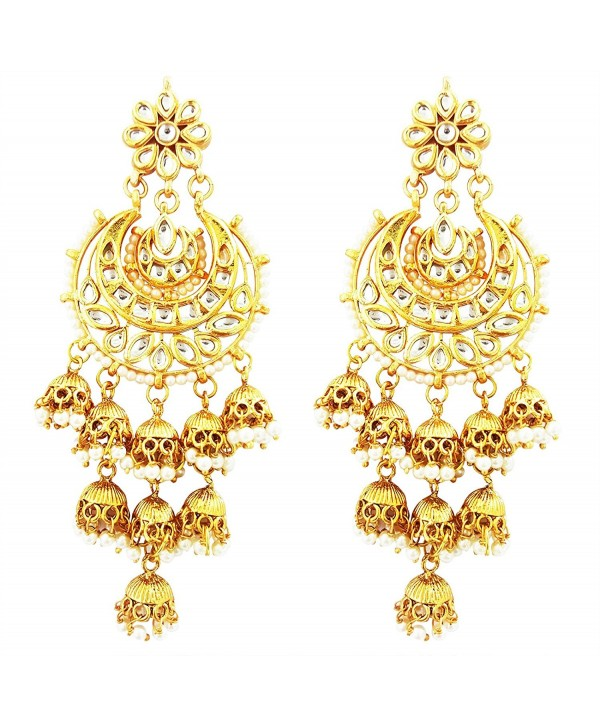 Mehrunnisa Nine Jhumkis Chand Bali Earrings With Pearls Kundan & Free Kan Chain For Women (JWL1937) - CT185Q5WADS
