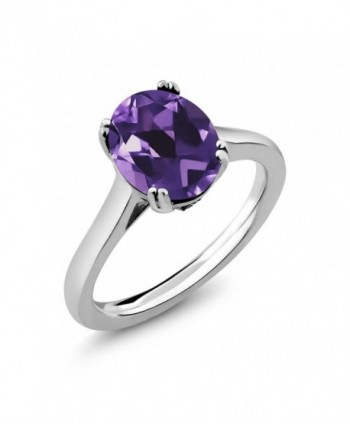 Sterling Silver Purple Amethyst and White Diamond Women's Ring (2.53 cttw- Available in size 5- 6- 7- 8- 9) - CJ128ZD1XSX