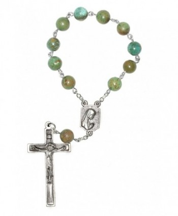 One Decade Pocket Rosary made with African Turquoise Jasper Gemstones - CA11CB51CNN