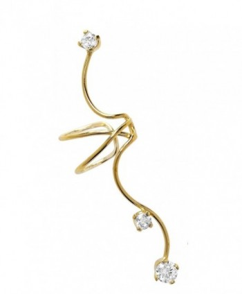 Ear Charm's Non-Pierced Triple CZ Full Ear Spray Ear Cuff Gold on Silver Right Earring Cuff - C012O6KMHHI