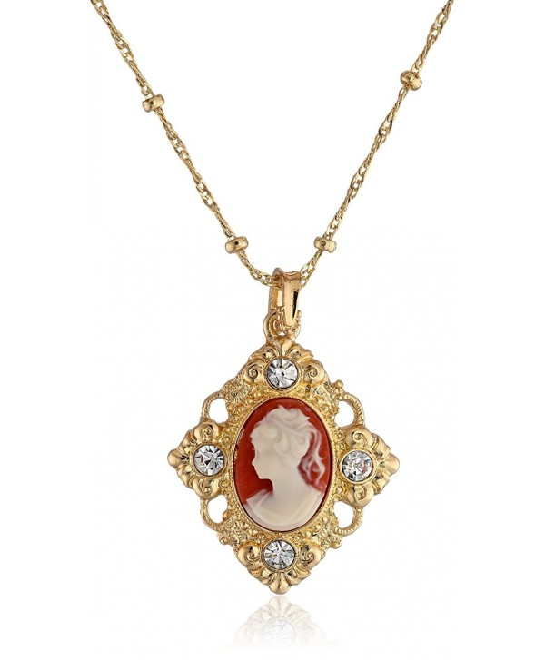 "Downton Abbey ""Carded"" Gold-Tone Cameo Crystal Accent Pendant Necklace- 16"" - C911I5X8VYX"