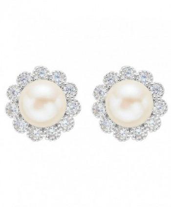 EVER FAITH 925 Sterling Silver 8MM AAA Freshwater Cultured Pearl CZ Elegant Sunflower Stud Earrings - C712042P88T
