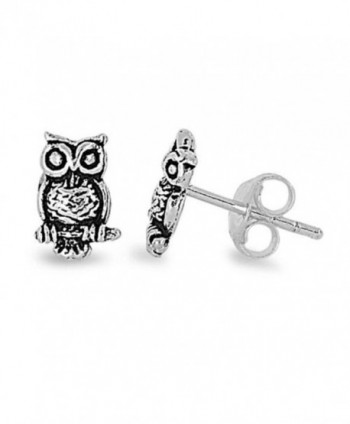 Sterling Silver Owl Visionary Stud Earrings - C211D9XXMCZ