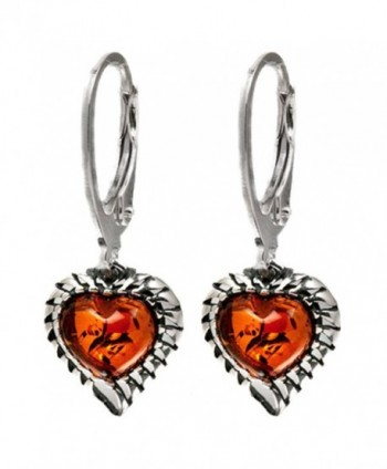 Sterling Silver Amber Heart Leverback Earrings - C211B4D4RIF