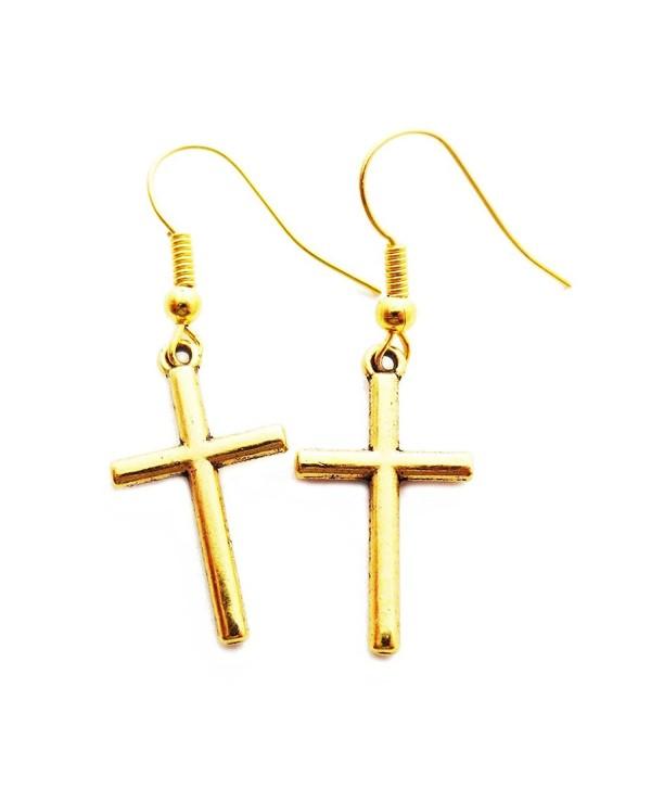 Petite Gold Crosses - dangle earrings - CT17XHUC4DY