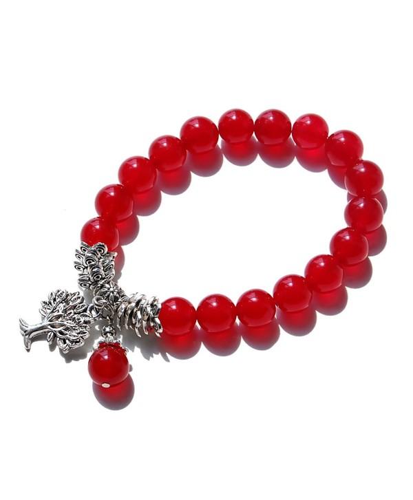 Three Keys Jewelry Birthstone Bracelet - 07 July Agate Red - CW11W96UHV7
