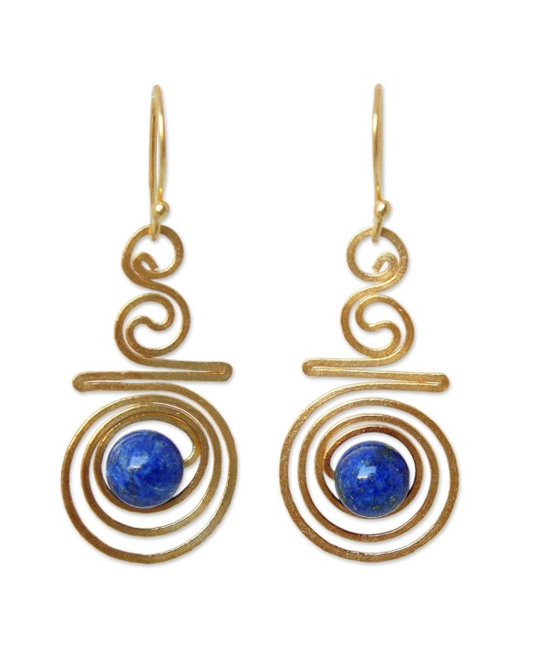 NOVICA Hand Crafted Lapis Lazuli and Yellow Gold Plated Brass Earrings- 'Follow the Dream' - CA115YQRCUN