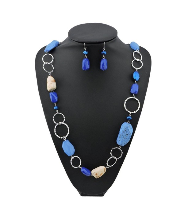 BOCAR Fashion Long Chunky Cryastl Beads Necklace and Earrings Set for Women Gift - royalblue - CO1895YC93X