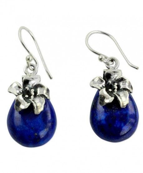 NOVICA Lapis Lazuli .925 Sterling Silver Floral Dangle Earrings 'Lovely Lily' - CJ12DUHTNOZ