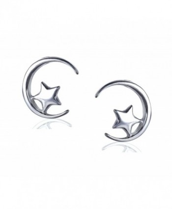 FarryDream Genuine 925 Sterling Silver Star Moon Studs Earrings for Women Teen Girls Valentine's Day Gifts - CV189OXT9GD