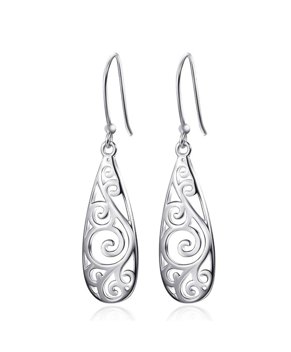 Merdia 925 Sterling Silver Filigree Drop Dangle Earrings Vintage Ladies Earring for Women - C712IOTNIGD