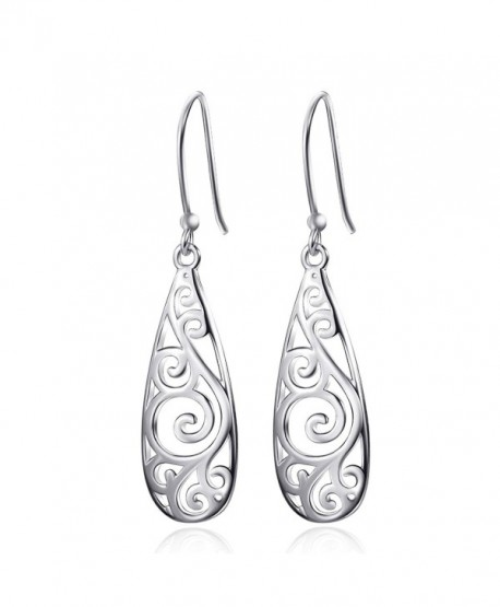 Merdia 925 Sterling Silver Filigree Drop Dangle Earrings Vintage Ladies Earring for Women - C712IOTNIGD