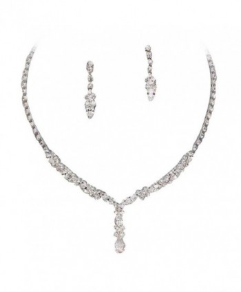 Beautiful Y Drop Evening Party Clear Bridal Bridesmaid Necklace Earring Rhinestone Bling Silver Tone Q5 - C311MC86C89
