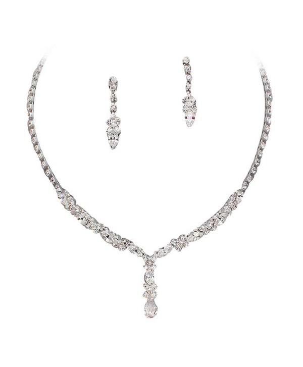 Beautiful Y Drop Evening Party Clear Bridal Bridesmaid Necklace Earring Rhinestone Bling Silver Tone Q5 - C311MC86C89