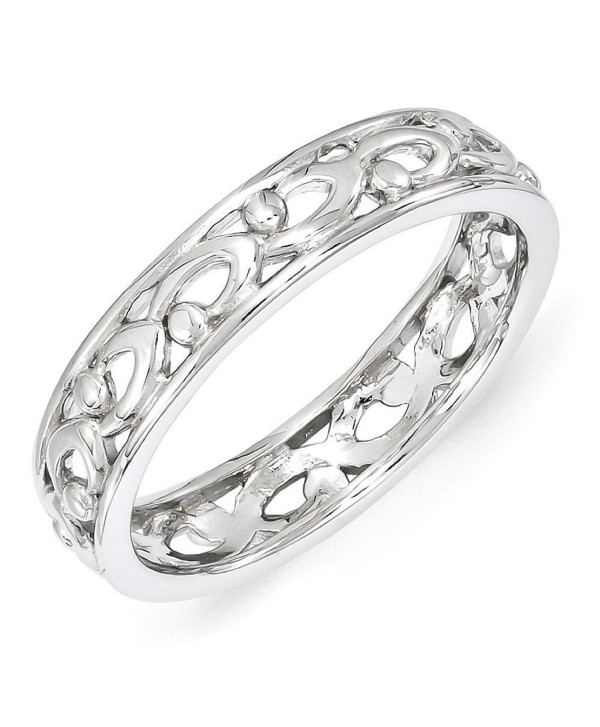 4.25mm Rhodium Plated Sterling Silver Stackable Carved Band - CB12K7JG2I9