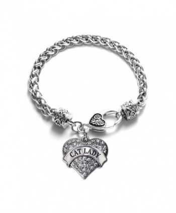 Cat Lady 1 Carat Classic Silver Plated Heart Clear Crystal Charm Bracelet Cat Lover Gift Jewelry - C711VDKZQ6L