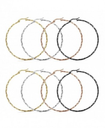 LOYALLOOK 3-4 Pairs Stainless Steel Twisted Hoop Earrings Set for Women Ear Piercing 25-55mm - CC186Q2HHWW
