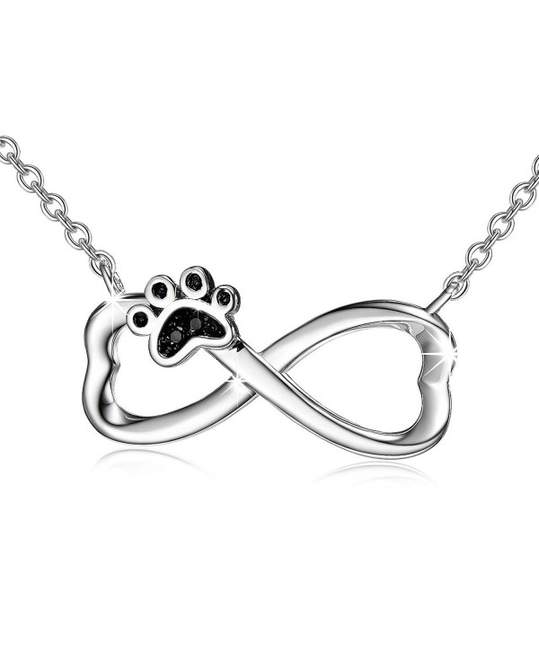 Infinity Necklace With Black Zircon Puppy Paw Pendant Sterling Silver Women Jewelry Sets - CG184A92IAZ
