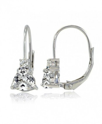 Sterling Silver Cubic Zirconia Trillion-Cut Leverback Drop Earrings - C017Y052Q3L
