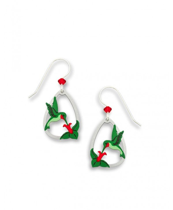 Hummingbird Red Throat with Flower Earrings Made in USA by Sienna Sky si1419 - CN11CUVPYDH