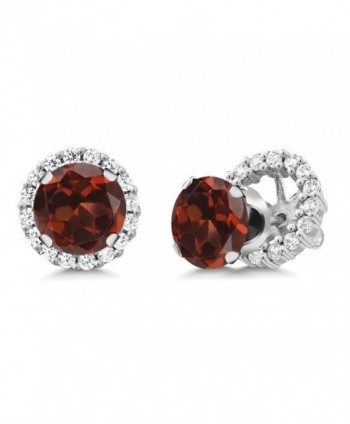 3.44 Ct Round Red Garnet 925 Sterling Silver Stud Earrings with Jackets - CR11MDF2H6H