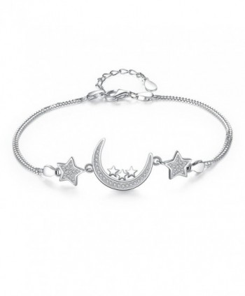 EVER FAITH 925 Sterling Silver CZ Bling Moon and Stars Bracelet Double Chain Clear - C2120S8SHH3