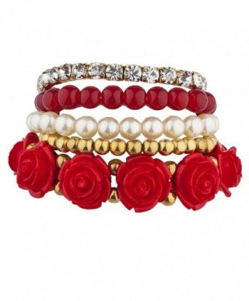 Lux Accessories Goldtone Red Pearl Flower Beaded Rhinestone Stretch Bracelet 5PC - CL17YQUDRDW