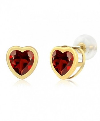 1.80 Ct Heart Shape Red Garnet 10k Yellow Gold bezel Stud Earrings 6mm - C4117M0BS09