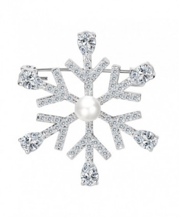 EleQueen Women's Winter Snowflake Clear Brooch Pin - C0187I4TE3S