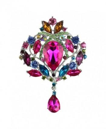 Merdia Created Crystal Brooch for Women Shiny Flower Teardrop Brooch Pin - Mutil-color - CS189D93C5O