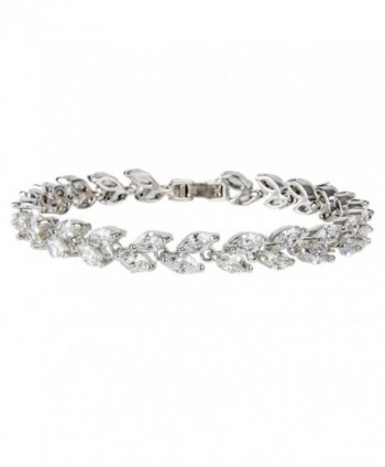 EVER FAITH Silver-Tone Zircon Wedding 2 Layers Small Leaf Roman Tennis Bracelet Clear - C211S36TYFH