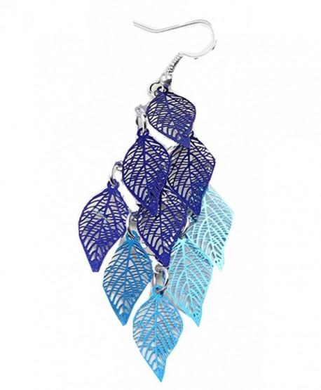 SunIfSnow Women Filigree Leaf Tassel Long Teardrop Dangle Drop Copper Earrings - blue - CN12NSVV8Z0