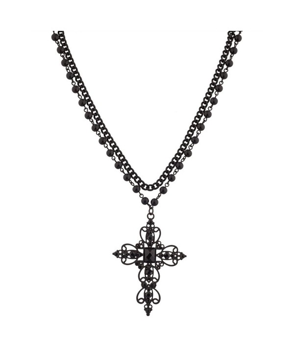 Lux Accessories Classic 80s Gothic Black Rosary Style Cross Pendant Necklace - CZ11WNX3IJT