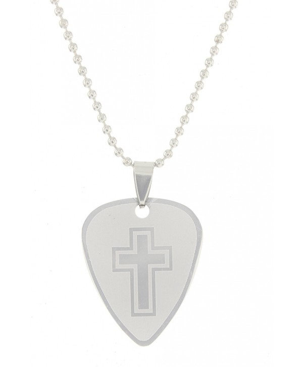 "Cool Jewels Stainless Steel 2-Sided Guitar Pick Cross Necklace on 18"" Ball Chain - CJ12NYUT57V"
