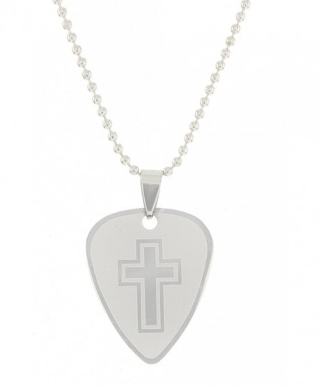 """Cool Jewels Stainless Steel 2-Sided Guitar Pick Cross Necklace on 18"""" Ball Chain - CJ12NYUT57V"""
