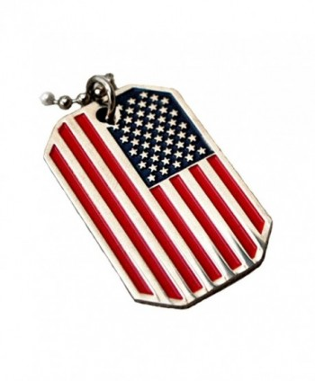 USA FLAG PENDANT AMERICAN OLD GLORY STARS STRIPES DOG TAG BALL CHAIN NECKLACE US - C6115G32QCD