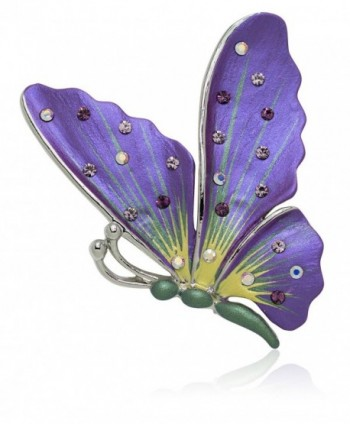 Akianna Hand Painted Swarovski Element Butterfly Brooch Pin - Purple - C4129F3Y3LL