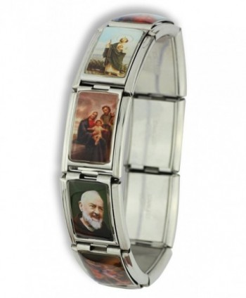 Large Italian Charm Bracelet with Saints - Stainless Steel - CO11AK1EZKB