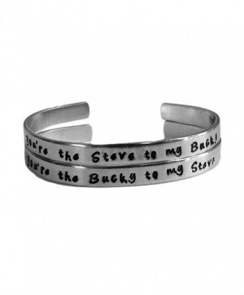 Captain America Inspired - Steve to My Bucky & Bucky to My Steve Set of 2 Hand Stamped Bracelets - CO11WB6LSCH