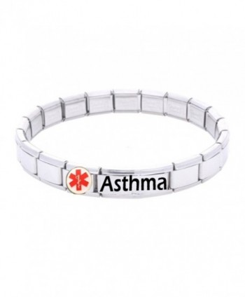 JSC Jewellery Asthma Medical Id Alert Bracelet Stainless Steel One Size Fits All Totally Adjustable - C71168ZG7TV