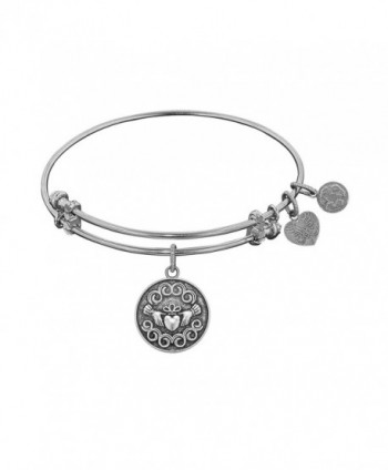 "Angelica Collection Antique Smooth Finish Brass ""claddagh"" Expandable Bangle - White - CA11JRW0TB9"