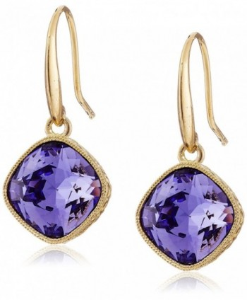 "Signature 1928 ""1928 Signature Collection"" Gold-Tone Faceted Swarovski Crystal Drop Earrings - Tanzanite - C211CJIKPLR"