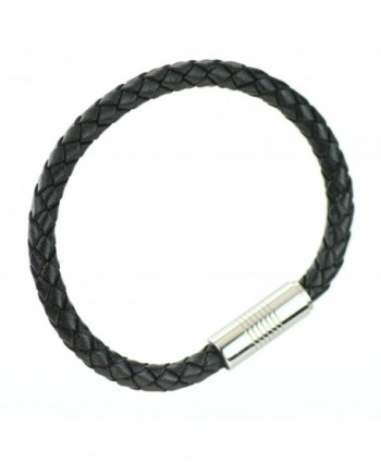 Black Braided Round Leather Bracelet with Stainless Steel magnetic clasp - C7182ESH0DI