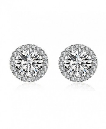 Mealove 18K White Gold Plated Round Cubic Zirconia Halo Stud Earrings - C412KA4UZWJ