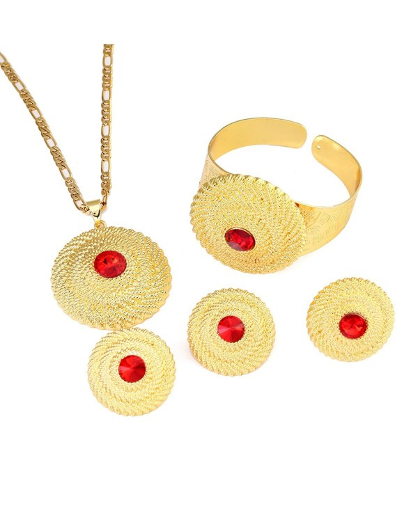 Ethiopian Red Stone Jewelry Set 24k Gold Plated Pendant Ring Earring Bangle Wedding Sets Women - CZ1840YYNI5
